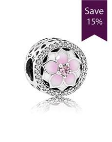 jewellery: Pandora Magnolia Silver Charm 792085PCZ!
