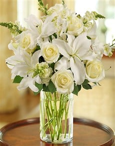 flowers: Classic All White Arrangement for Sympathy!