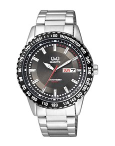 watches: QQ Gents Steel Black Dial Tachymeter Watch!