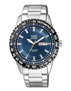 watches: QQ Gents Steel Blue Dial Tachymeter Watch!