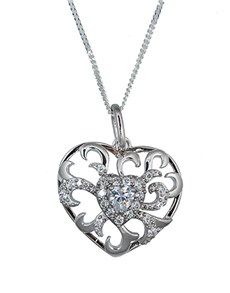 jewellery: Silver Open Filigree Cubic Heart Necklace!