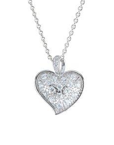 jewellery: Sterling Silver Pave CZ Heart Pendant!