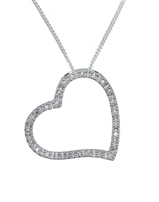 jewellery: Sterling Silver Large Open Heart Necklace!