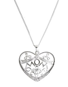 jewellery: Sterling Silver Heart Mom Necklace!