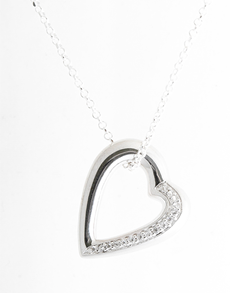 jewellery: Sterling Silver open Heart Slider Necklace!