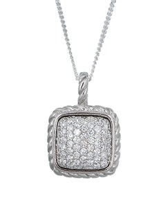 jewellery: Sterling Silver Square Cubic Zirconia Necklace!