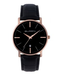 watches: Buren Gents Rose Gold and Black Watch!