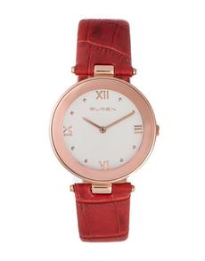 watches: Buren Ladies Red Leather Strap Watch!