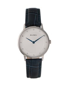 watches: Buren Ladies Navy and Silver Watch!