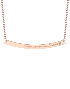 jewellery: MeMi Curve 9kt Rose Gold Bold Bar Necklace!