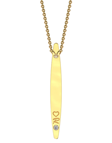 jewellery: MeMi Drop Bar Yellow Gold Diamond Necklace!