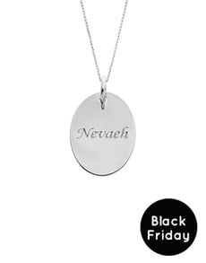 jewellery: Silver Oval Disc Personalised Necklace BF!