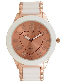 Bad Girl Carmen White and Rose gold Watch