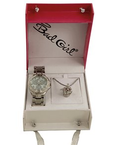watches: Bad Girl Royalty Watch and Necklace Set Silver!