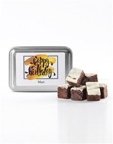 bakery: Personalised Birthday White Choc Chunk Brownie Tin!