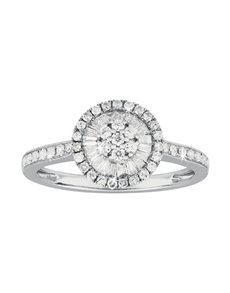 jewellery: Baguette Halo White Gold Paved Diamond Ring!