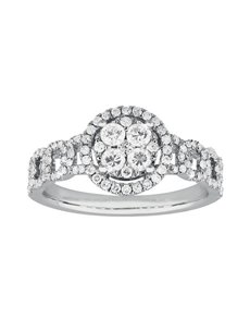 jewellery: 9KT White Gold Diamond Illusion set Ring C199!
