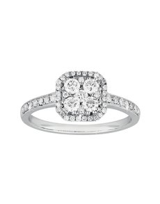 jewellery: Square Solitaire Paved Diamond Ring!