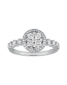 jewellery: 9KT White Gold 0,46ct Diamond Illusion Set Ring!
