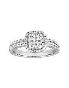 jewellery: Square Solitaire Set Paved Diamond Ring!