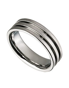 jewellery: Titanium Gents  ring with grooves C23653 0 W!