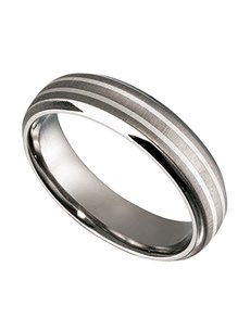 jewellery: Brushed Titanium Gents ring with Silver Inlay!