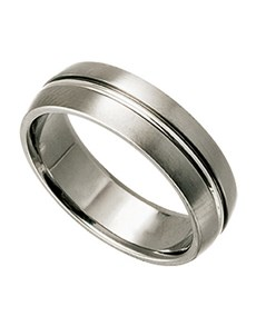 jewellery: Titanium Gents Ring with Center Silver Inlay!