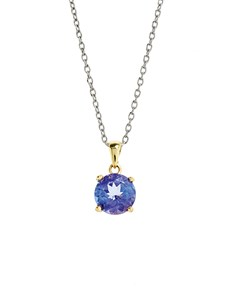 jewellery: 18KT White and Yellow Gold Round Tanzanite Pendant!