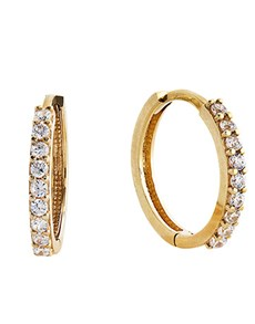 jewellery: 9kt Yellow Gold Cubic Zirconia Hoop Earrings!