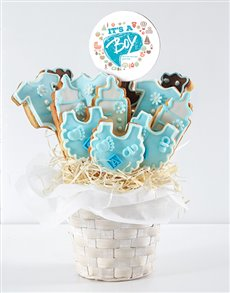 bakery: Personalised Baby Boy Cookie Bouquet!