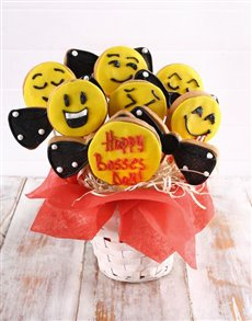 bakery: Bosses Day Emoji Cookie Bouquet!