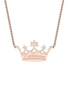 jewellery: MeMi Crown 0.01ct Diamond Personalised Necklace!