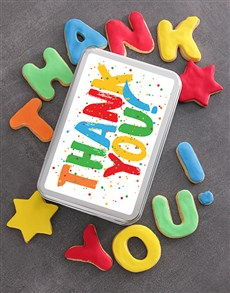 Colourful Thank You Cookie Tin