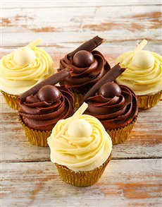 bakery: White and Dark Lindt Chocolate Cupcakes!