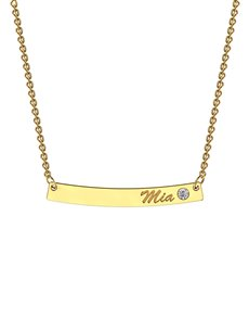 jewellery: MeMi Curve Yellow Gold Bar Personalised Necklace!