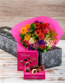 flowers: Bright Blooms and Chocolate Delight!