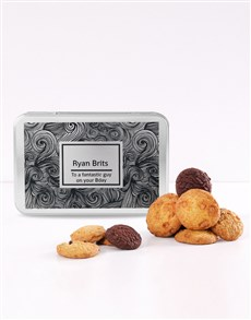 bakery: Personalised Black Swirl Cookie Tin!