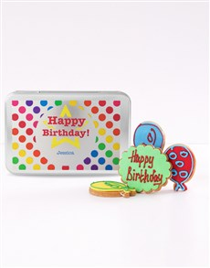 bakery: Personalised Birthday Balloon Cookie Tin!