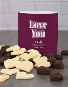 bakery: Personalised Purple Love You Cookie Tube!