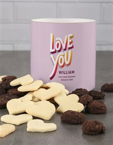 bakery: Personalised Colourful Love You Cookie Tube!