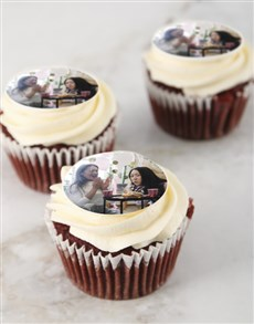 gifts: Personalised Red Velvet Photo Cupcakes!