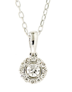 jewellery: 18kt White Gold Petal 0.24 ct Diamond Necklace!