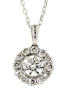 jewellery: 18kt White Gold Petal 1.00 ct Diamond Necklace!