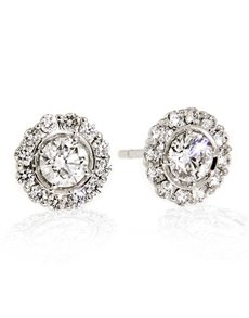 jewellery: 18kt White Gold Petal 1.00ct Earrings!