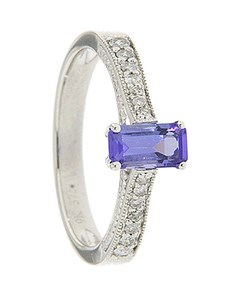 jewellery: 9kt Tanzanite and Diamond Ring D01918 9 M!