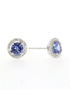 jewellery: 9ct Tanzanite And Diamond Studs 0.97ct!