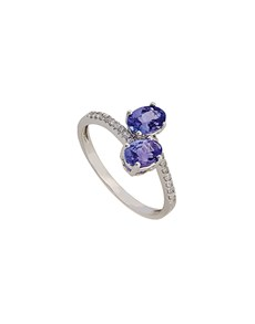 jewellery: 9KT White Gold Double Tanzanite and Diamond Ring!