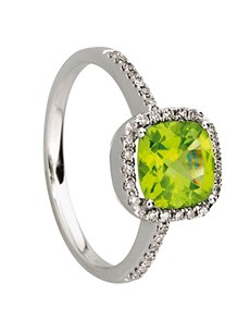 jewellery: 9kt White Gold Peridot And Diamond Ring D03428 9 N!