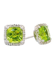 jewellery: Peridot And Diamond  Cushion Cut Earrings!