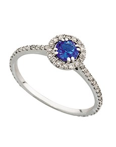 jewellery: 9kt White Gold Tanzanite And Diamond Ring  0.38ct!